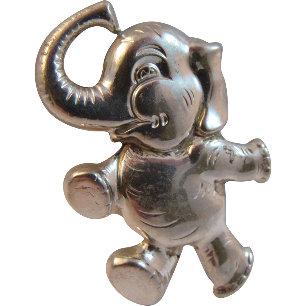 Sterling Silver Dancing Elephant Pin
