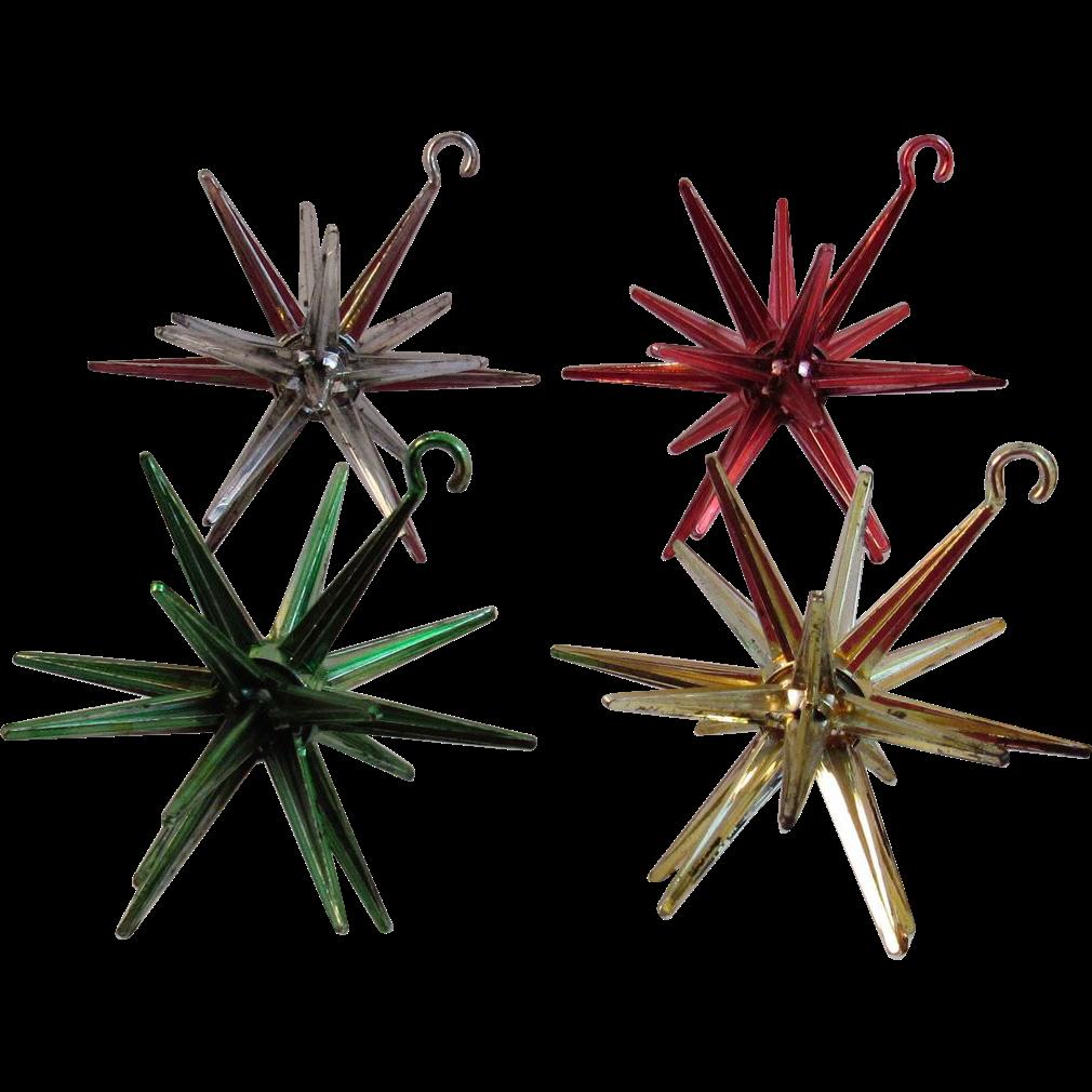 Sputnik christmas ornaments - 4 Vintage Sputnik Hard Plastic Christmas Ornaments
