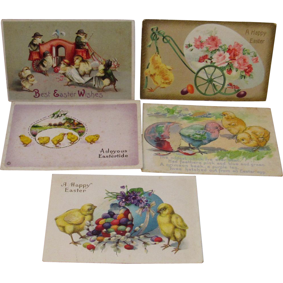 5 Vintage Embossed Easter Postcards with Chicks