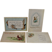 4 Vintage Easter Postcards with Bunnies