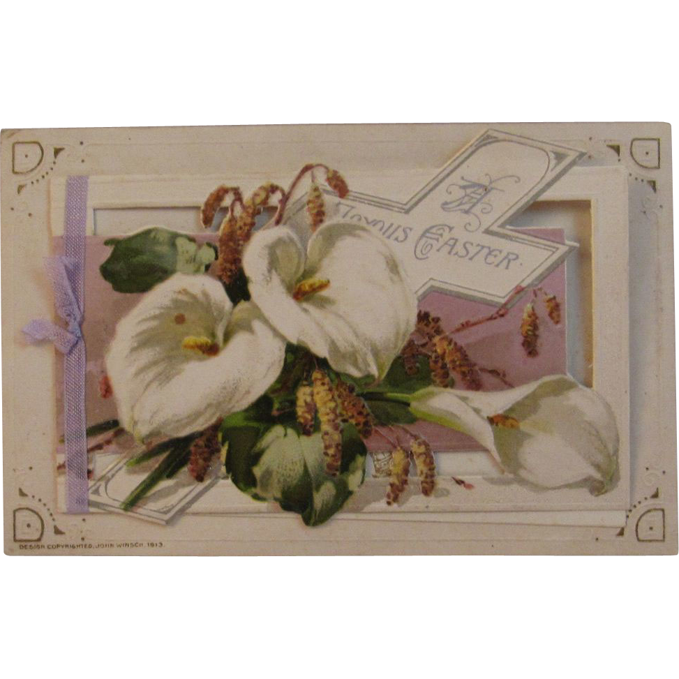 1913 Embossed Easter Fold Out Postcard German