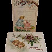 2 Vintage Easter Postcards - Little Girls