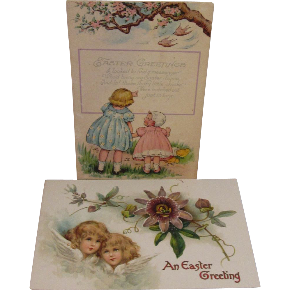 2 Vintage Easter Postcards - Little Girls