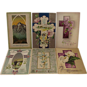 6 Vintage Easter Embossed Religious Postcards