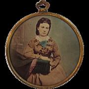 Tin Photo Button of Lady in Civil War Era Dress - Red Tag Sale Item