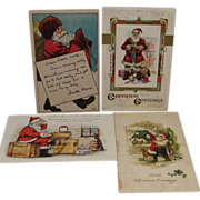 4 Early Santa Christmas Postcards - one P. Sander