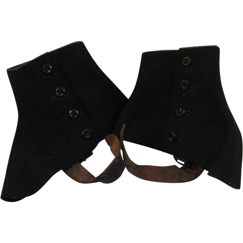 Vintage Mens Black Wool Spats