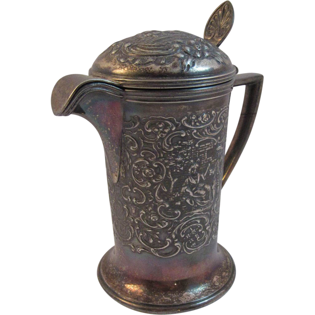 Derby Silver Co Silverplate Repousse Syrup Pitcher