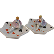 Pair of Art Deco Figural Ballerina on Playing Cards Ashtrays