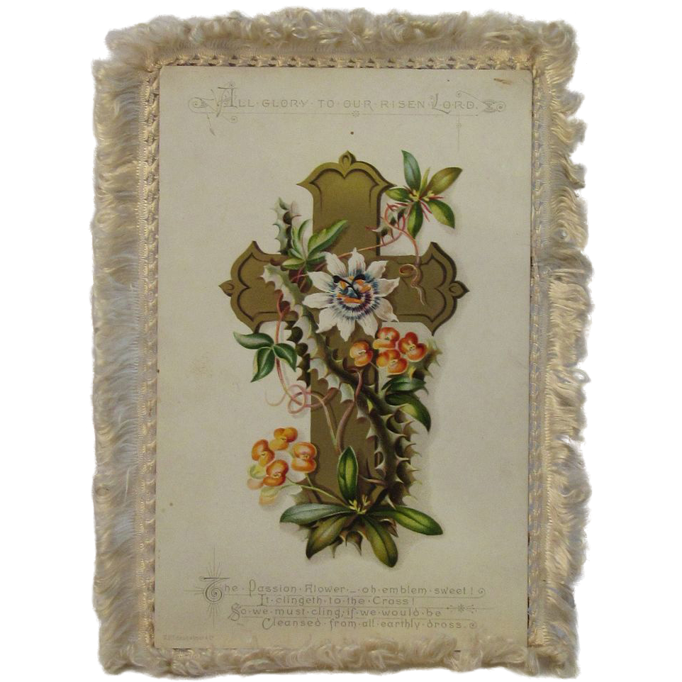 Victorian German Silk Fringed Easter Card - Hildesheimer