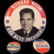 3 Nixon & Vote Republican Political Pinback Pins