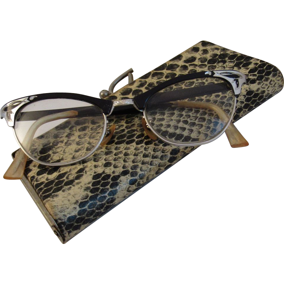 1950s Aluminum Cat Eye Glasses in Faux Snakeskin Case