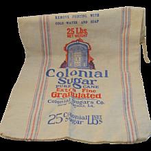 Vintage Colonial Sugar New Orleans Cotton 25 Pound Bag Vintage Kitchen - Red Tag Sale Item
