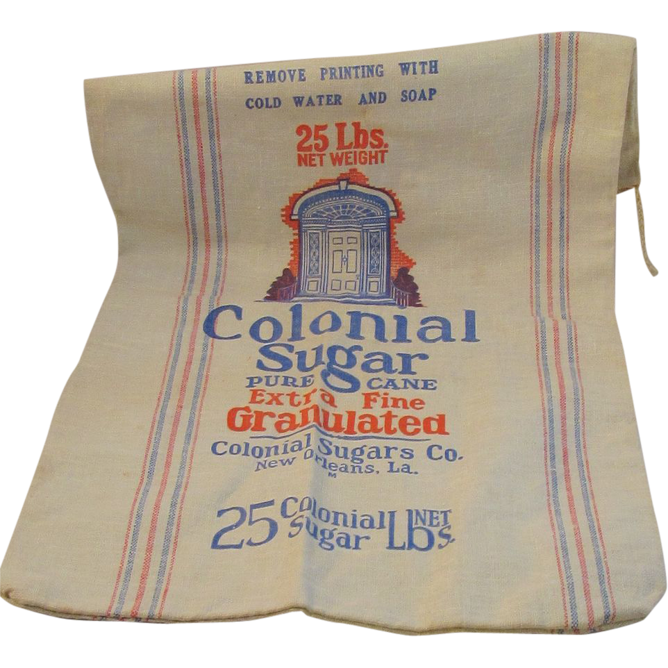 Vintage Colonial Sugar New Orleans Cotton 25 Pound Bag