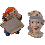 2 Humorous Art Deco Clown Figurines