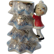 Vintage Elf Climbing Blue Christmas Tree Vase