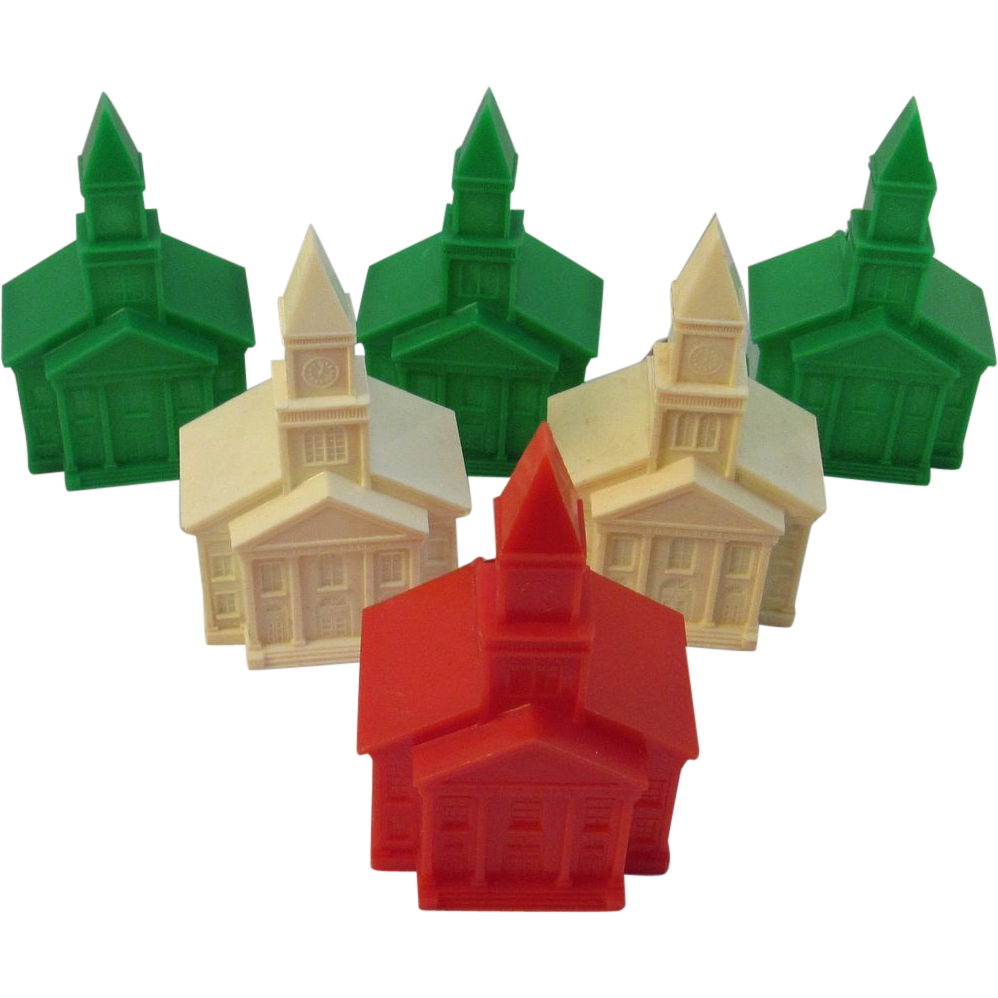 6 Christmas Church Light Bulb Covers - Vintage Plastic