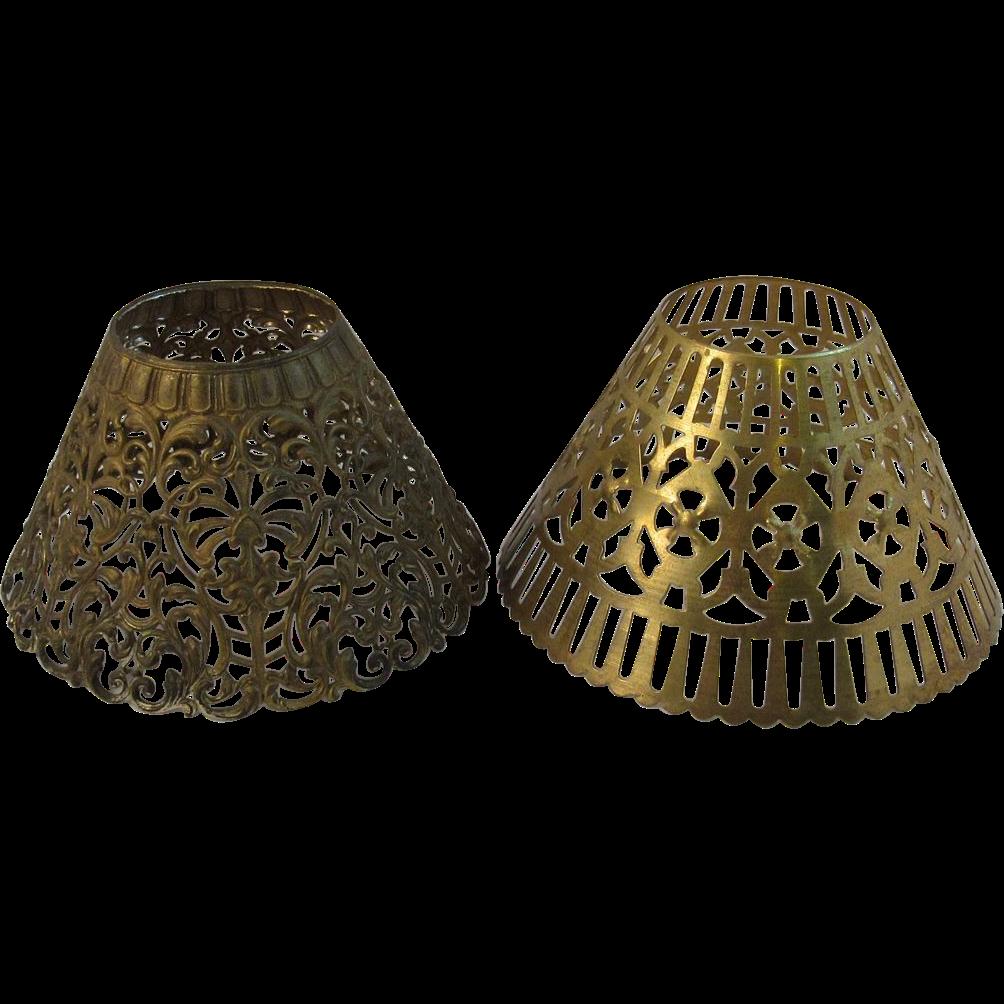 Vintage Lamp Shades: Pair Of Vintage Pressed Metal Lamp Shades SOLD On Ruby Lane