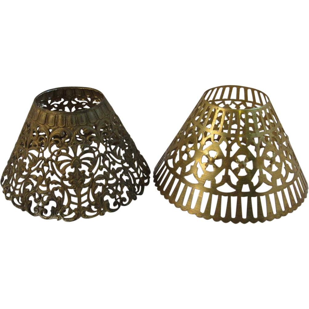 pair of vintage pressed metal lamp shades sold on ruby lane. Black Bedroom Furniture Sets. Home Design Ideas