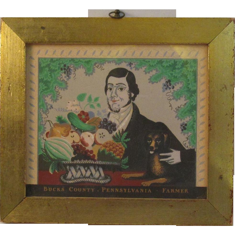 Vintage lithograph bucks county pennsylvania farmer for Craft shows in bucks county pa