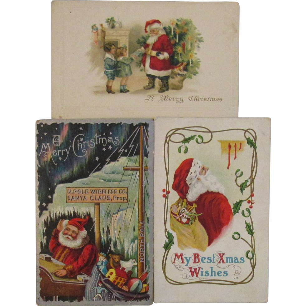 3 Vintage Embossed Santa Postcards - One German