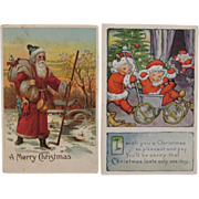 2 Santa Postcards - One with Santa Babies