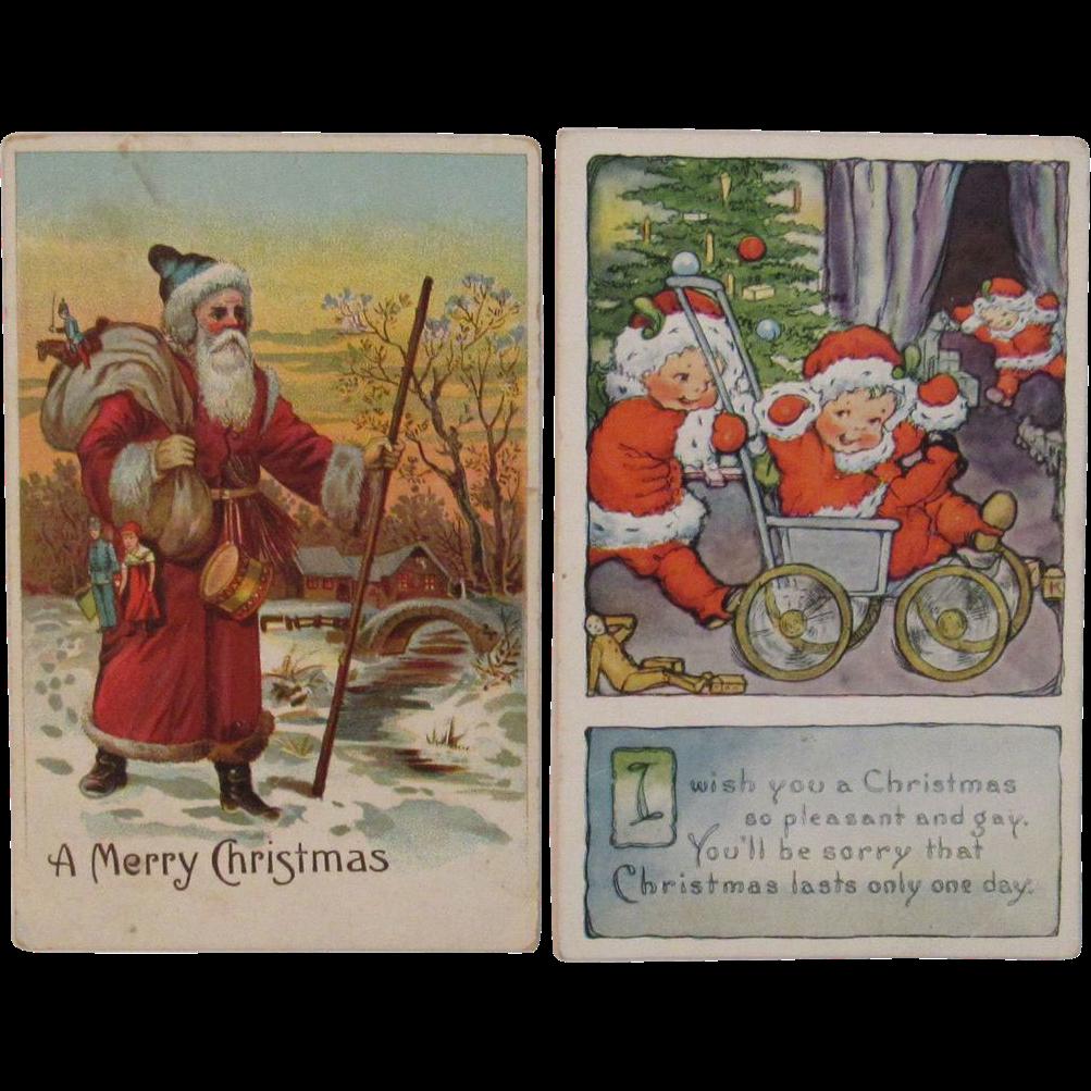 2 Santa Postcards - One with Santa Babies