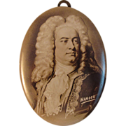 Vintage Tin Photo Button - Musician - Handel