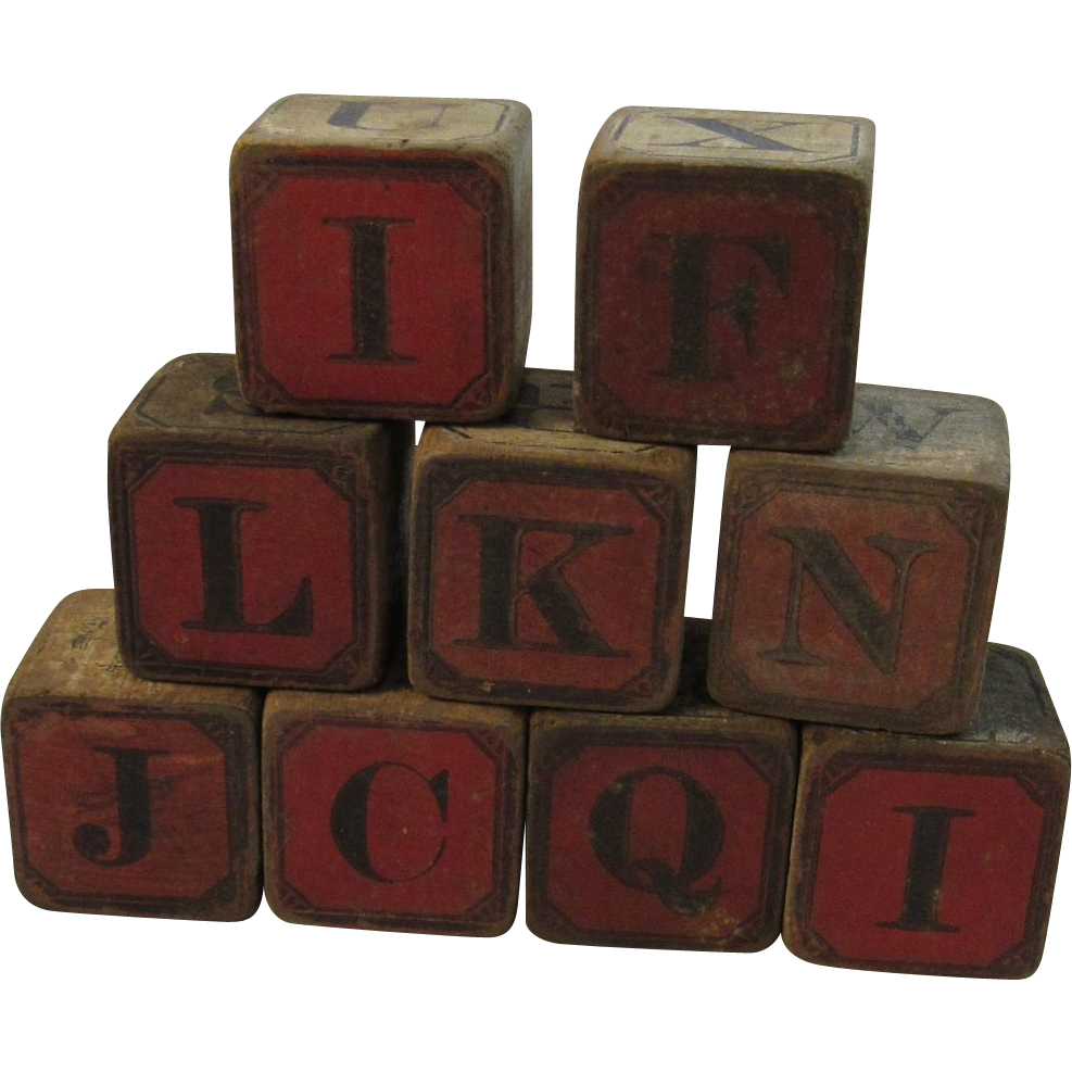 Victorian Children's Alphabet and Number Picture Wood Blocks