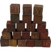 21 Circa Early 1900s Wood Alphabet Blocks