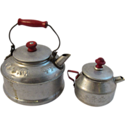2 Red Handle Tin Child's Toy Tea Pots