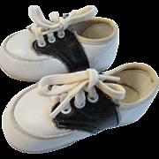 Vintage Doll Baby Leather Saddle Shoes