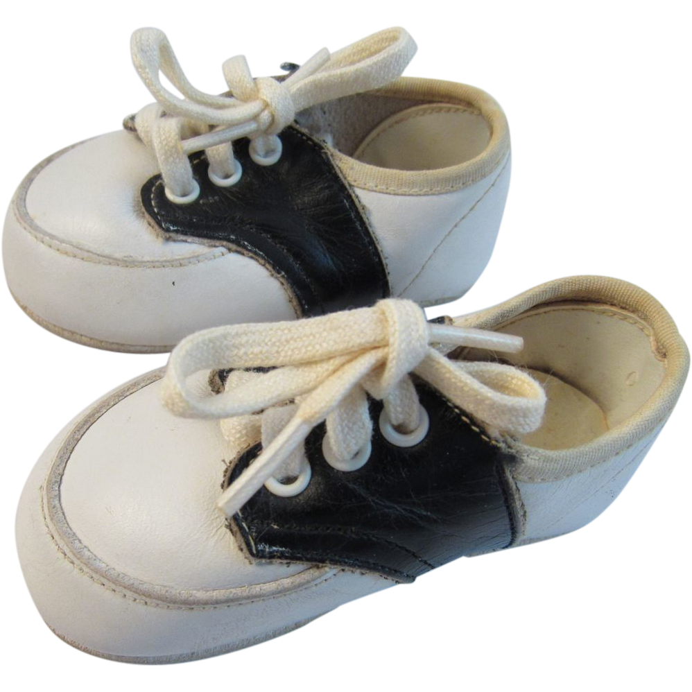 Vintage Doll Baby Leather Saddle Shoes