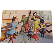 Alfred Mainzer Dressed Cats Postcard Musical Cats