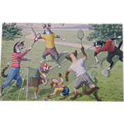 Alfred Mainzer Dressed Cats Postcard Cats Playing Badminton