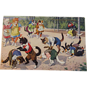 Max Kunzli Illustrated Dressed Cats Postcard Alfred Mainzer Zurich, Switzerland Leapfrog - Red Tag Sale Item