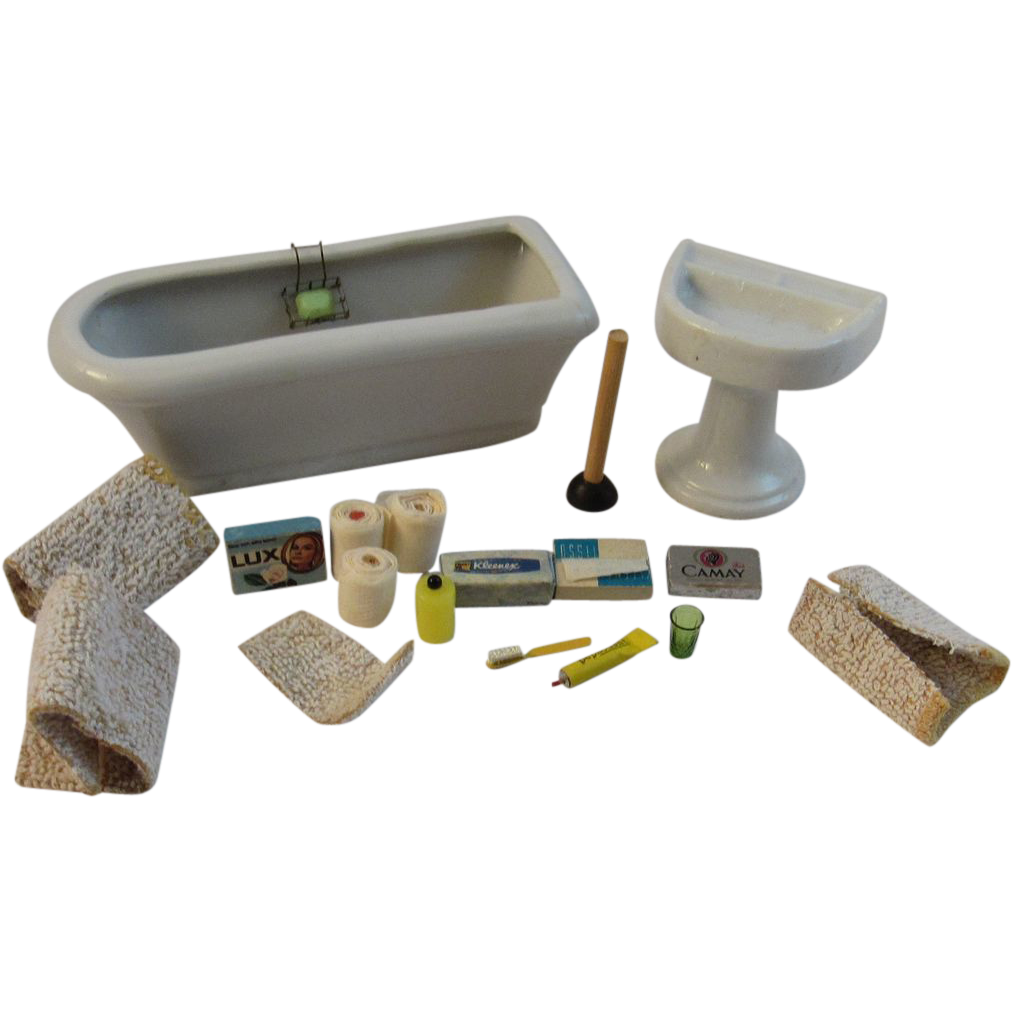 Vintage Dollhouse Miniature Set - Bathtub, Sink and Accessories