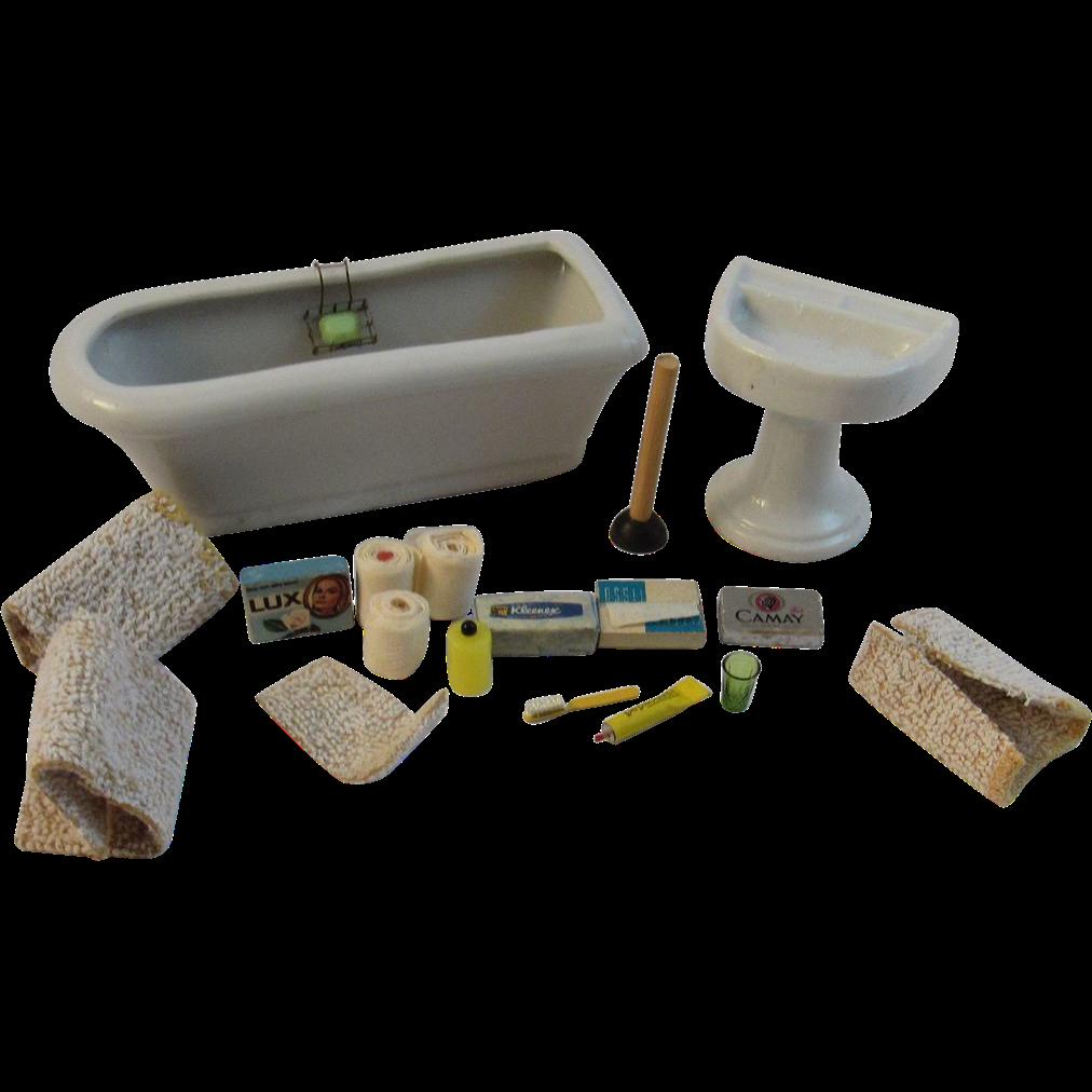 Vintage Dollhouse Miniature Set - Bathtub, Sink and Accessories