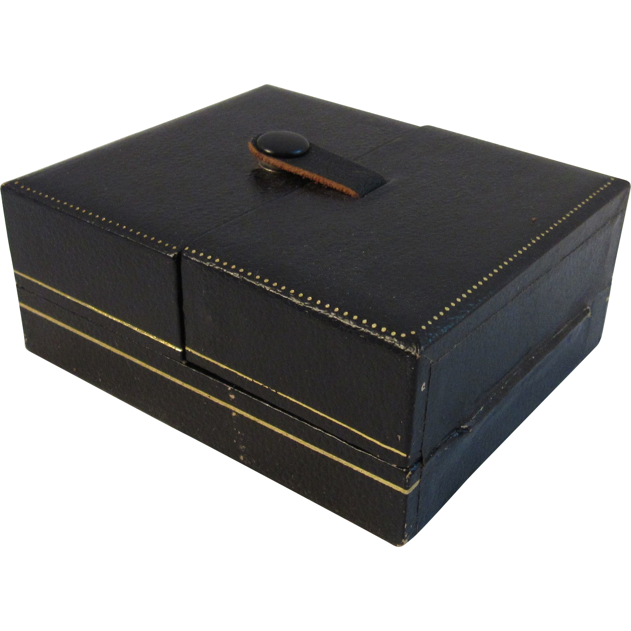 Vintage Leather Velvet Lined Jewelry Box