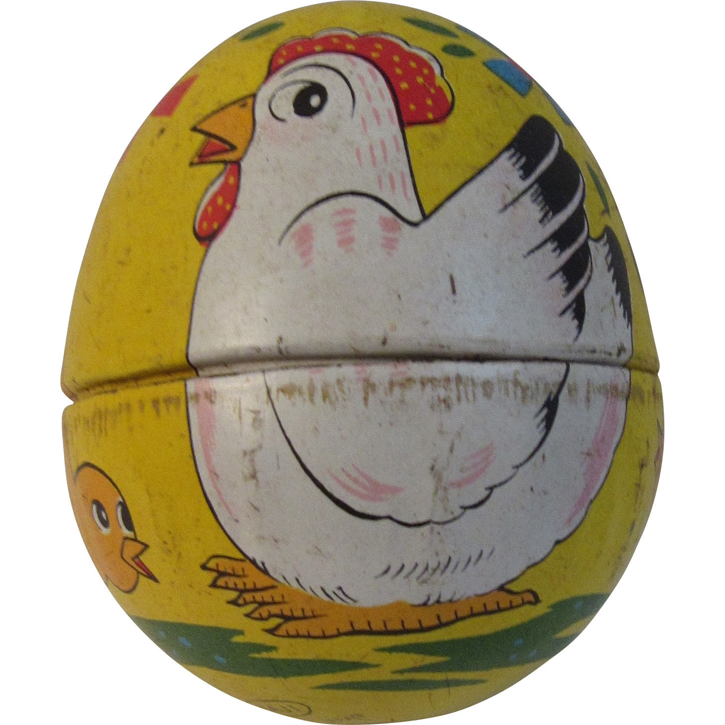 Vintage Tin Litho Toy Easter Egg Haji Japan