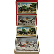 Vintage Currier and Ives Double Deck of Playing Cards