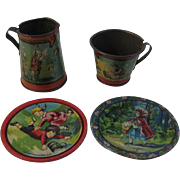 Ohio Art Tin Litho Fairy Tale Tea Set Pieces - Red Hiding Hood, Cow Jumping Over Moon & More - Pitcher, Plates and Cup - Red Tag Sale Item
