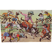 Alfred Mainzer Dressed Cats Postcard Cats at the Rodeo