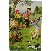 Alfred Mainzer Dressed Cats Postcard Cats Playing Golf