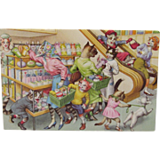 Alfred Mainzer Dressed Cats Postcard Cats Shopping