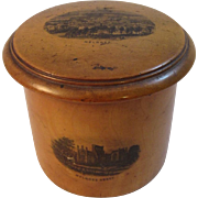 Scottish Mauchline Ware Melrose Abbey Covered Jar