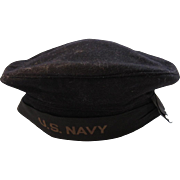 WWII US Navy Blue Wool Hat Cap Nautical