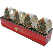 Vintage Christmas Tree Napkin Rings Japan Porcelain in Original Box