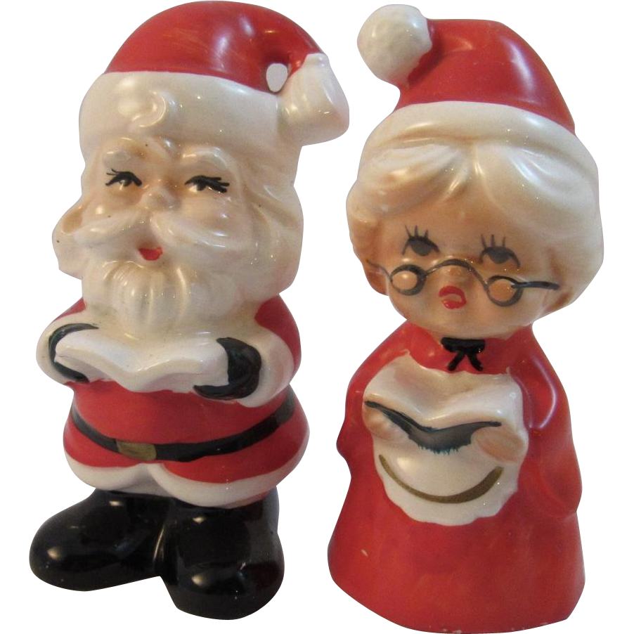 Lefton China Santa and Mrs. Claus Salt and Pepper Shakers