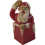 Vintage Santa in Chimney Hard Plastic Candy Container - Red Tag Sale Item